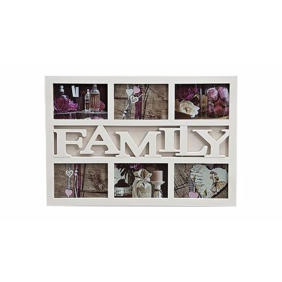 Multi fotolijst familie wit 6 fotos