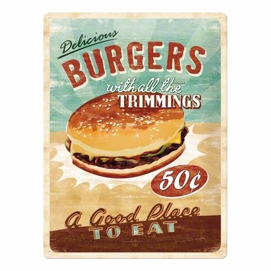 Muurplaat met hamburger afbeelding