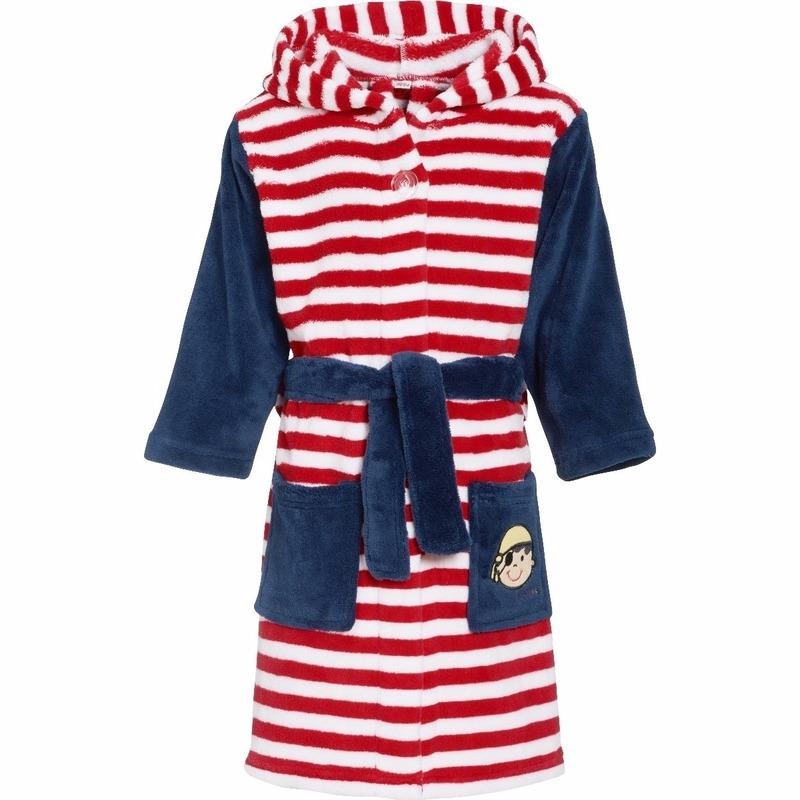 Piraten kleding rood/wit gestreepte badjas