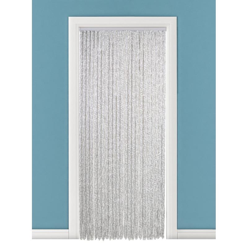 Pluche vliegendeurgordijn wit/grijs 90 x 220 cm