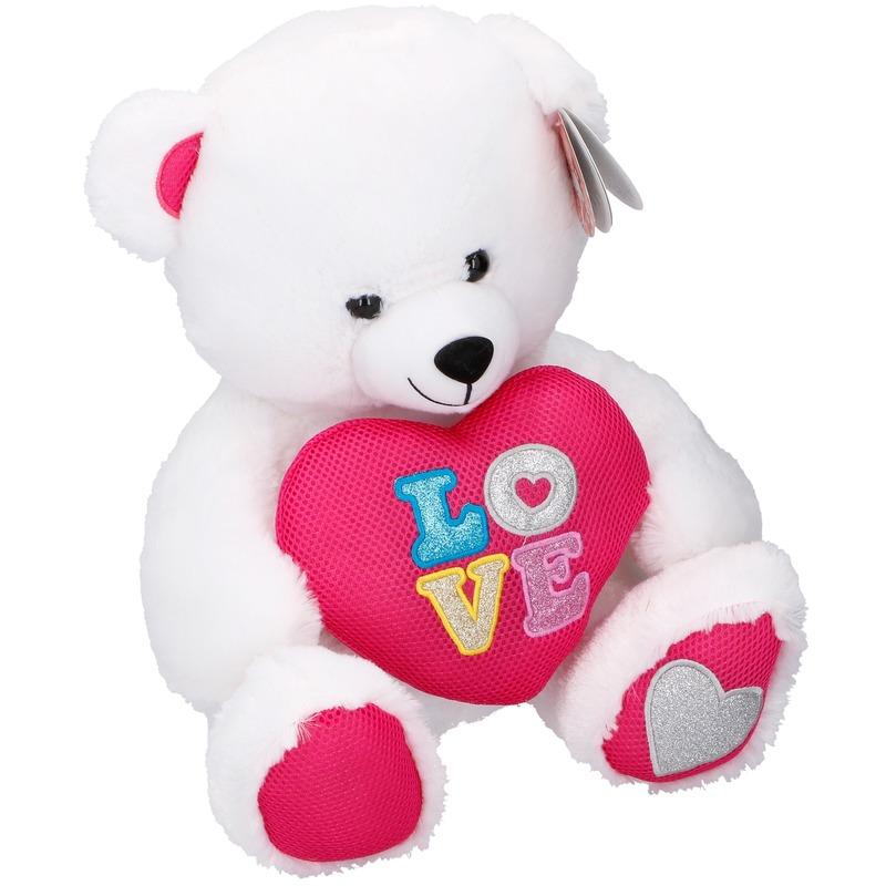 Pluche witte beer met hart 43 cm
