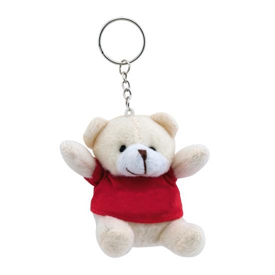 Rode teddybeer sleutelhanger 8 cm