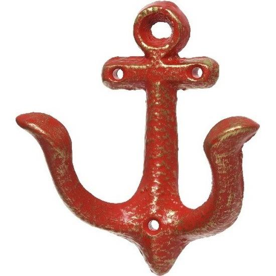 Rood anker kapstok haakje 12 cm maritieme decoratie