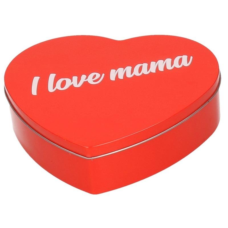 Rood I Love Mama hart blik cadeau snoepblik/bewaarblik 18 cm