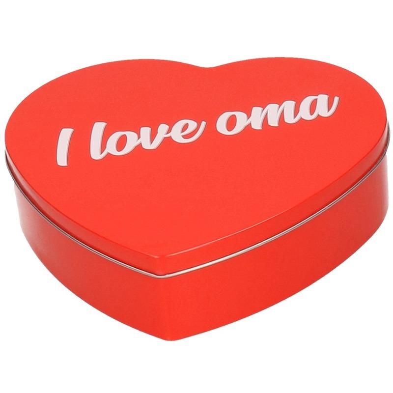 Rood I Love Oma hart blik cadeau snoepblik/bewaarblik 18 cm