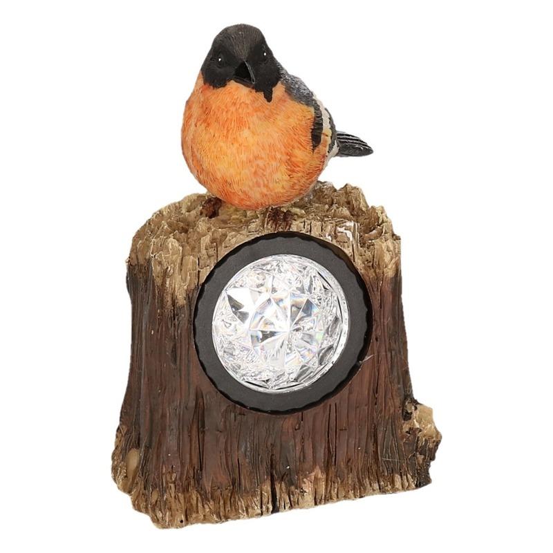 Solar lamp vogel tuin deco beeldje Goudvink met LED 17 cm