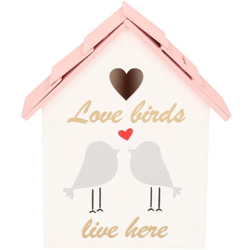 Spaarpot houten vogelhuisje roze 20 cm