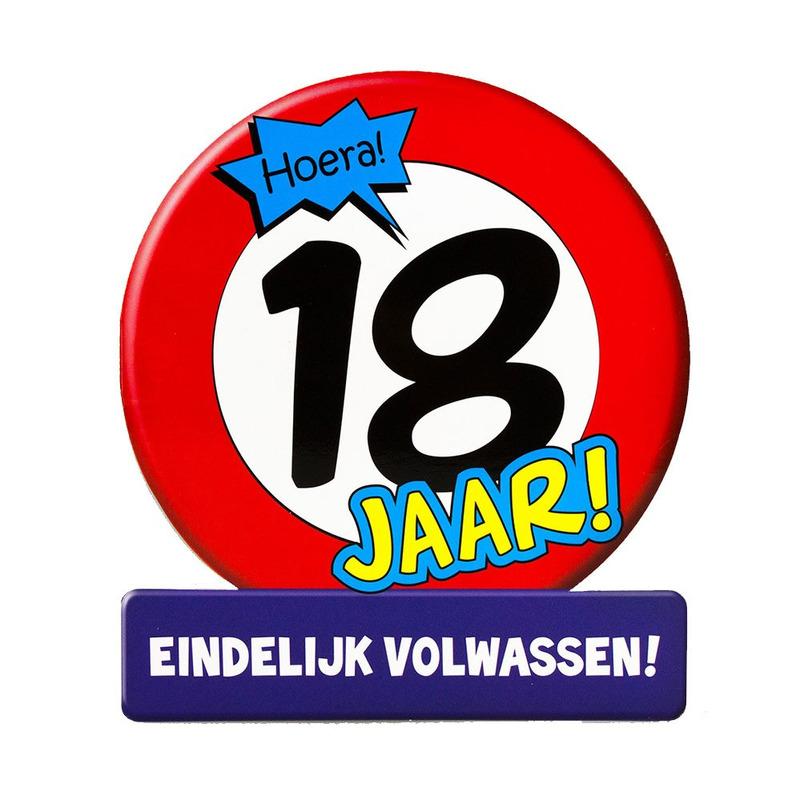 Stopbord wenskaart - verjaardagskaart 18 verjaardag 16 x 14 cm