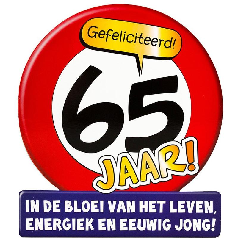 Stopbord wenskaart/verjaardagskaart 65 jaar voor 65e verjaardag