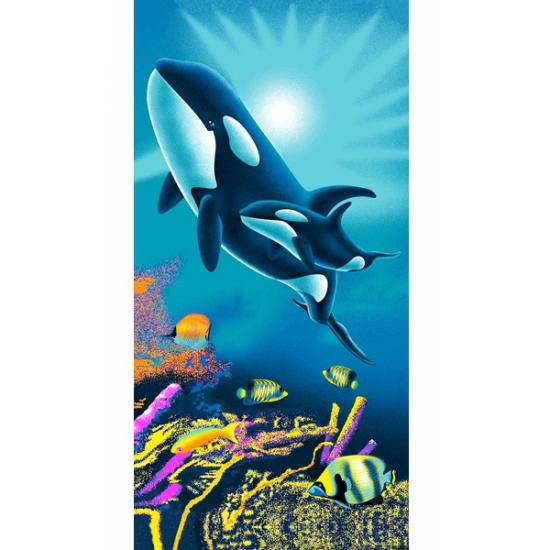 Strandlaken orka met baby 75 x 150 cm