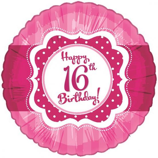 Sweet 16 folieballon roze