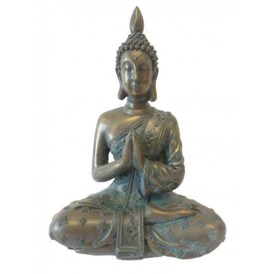 Thais boeddha beeldje brons 18 cm lotushouding