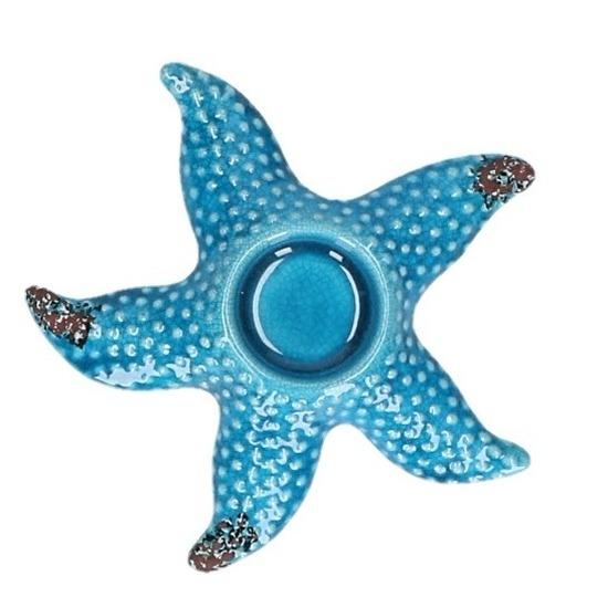 Theelichthouder blauwe zeester 17 cm