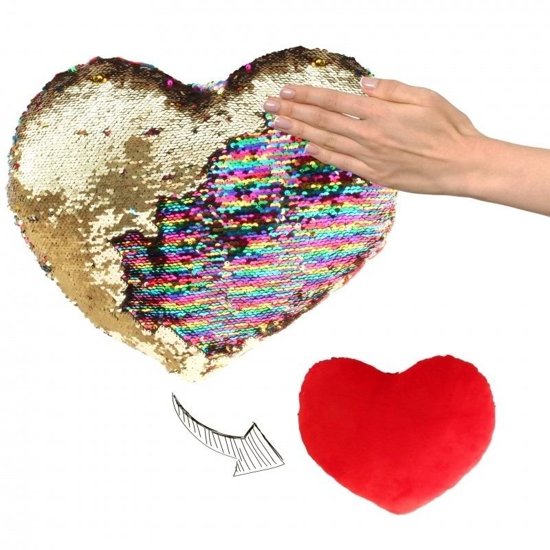 Valentijn - Hartjes kussen goud/rood metallic met pailletten 30 cm