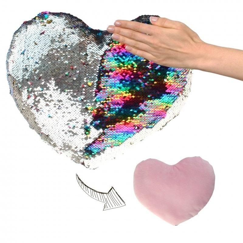 Valentijn - Hartjes kussen zilver/roze metallic met pailletten 50 cm