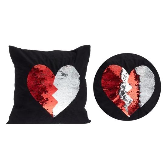 Valentijn - Zwart kussen met rood/witte omkeerbare pailletten 40 x 40 cm