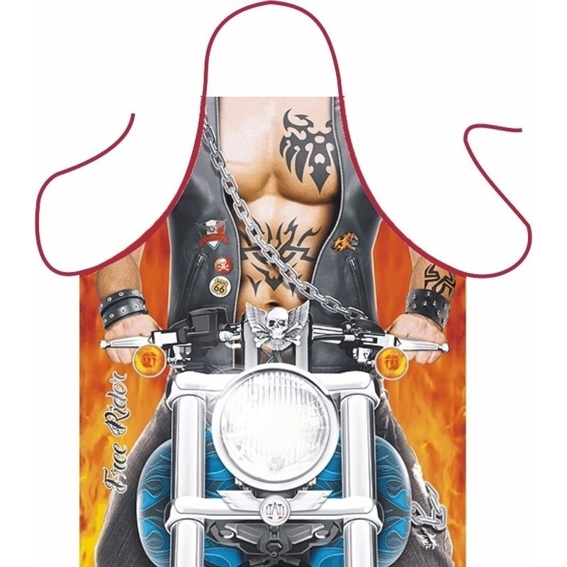 Verkleedkleding schort Biker man