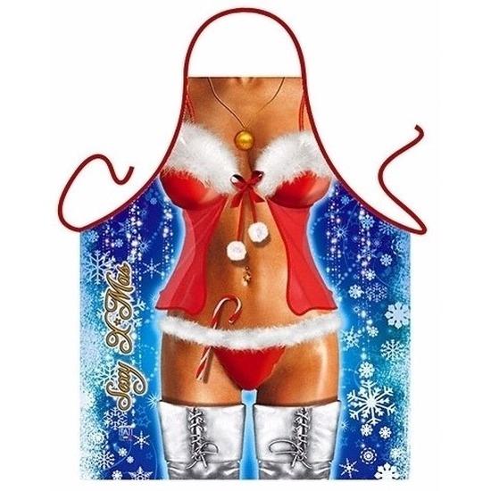 Verkleedkleding schort Kerstvrouw