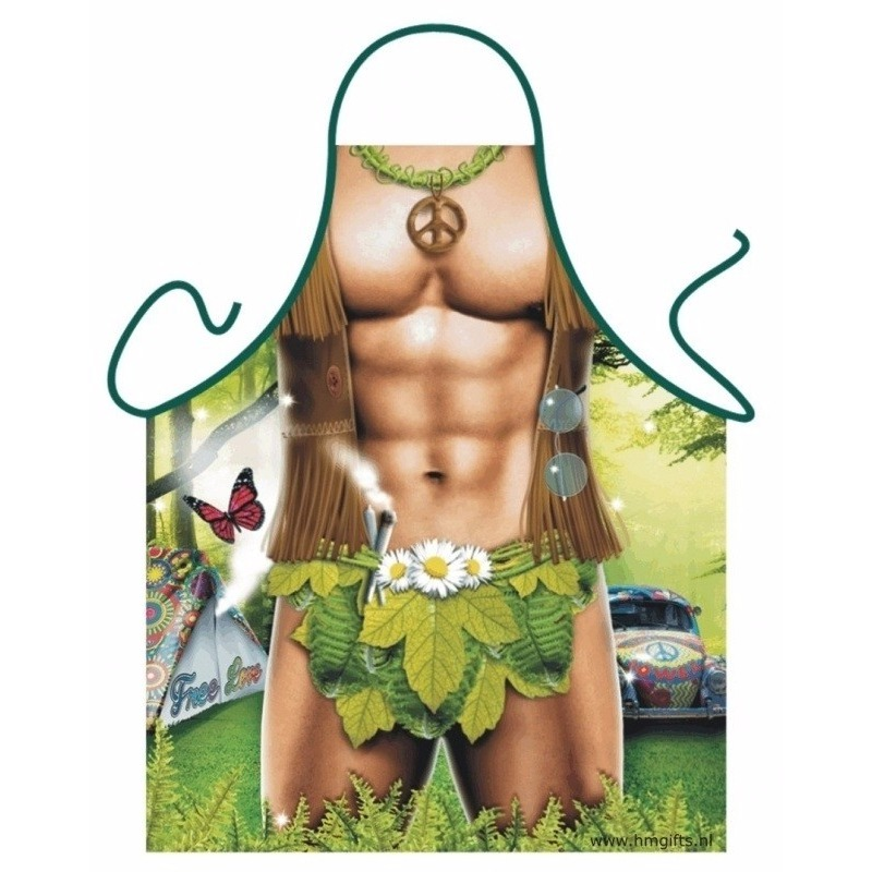 Verkleedkleding schort sexy hippie man