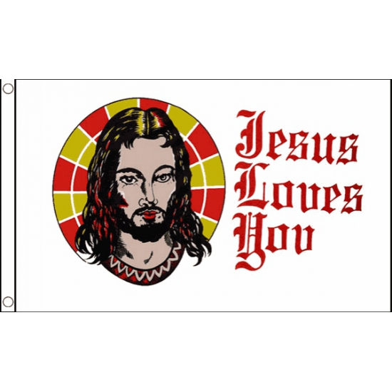 Vlag Jesus loves you 150 x 90 cm