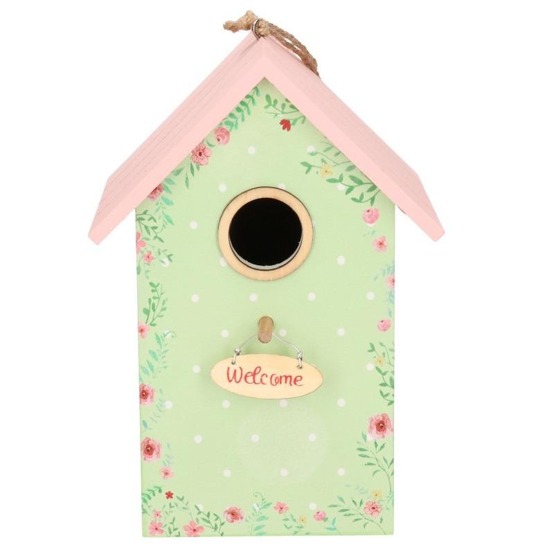 Vogelhuisje/nestkastje mintgroen/roze 22 cm