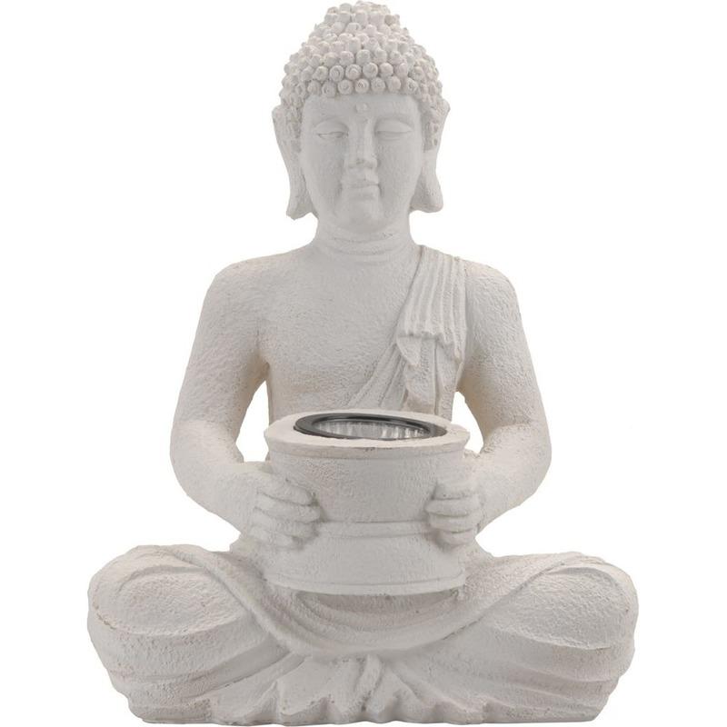 Witte solar Boeddha beeld tuinverlichting 31 cm
