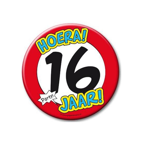 XXL verjaardags button 16 jaar