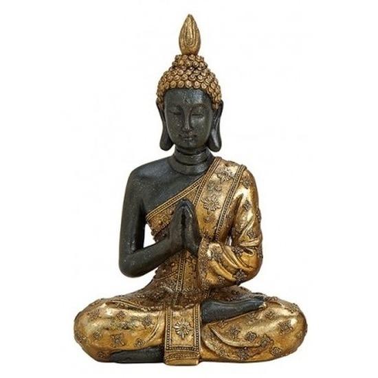 Zwart/goud boeddha beeldje biddend 20 cm