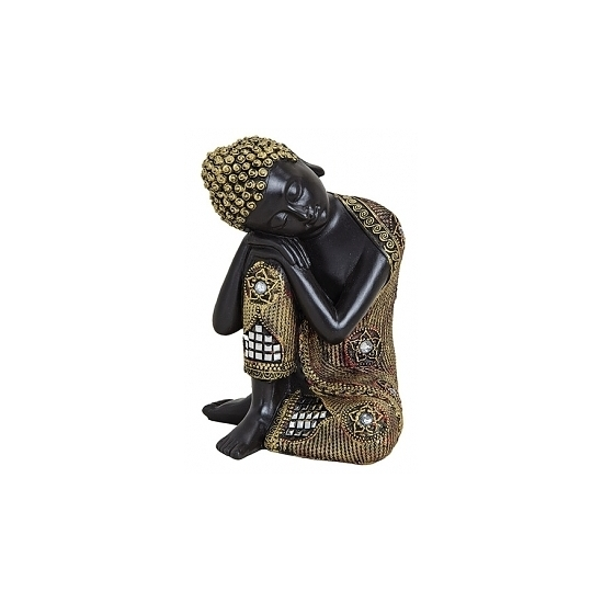 Zwart gouden polyhars slapende Boeddha beelden 17 cm