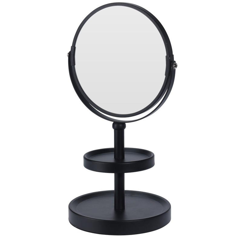 Zwarte make-up spiegel met sieraden plateau 25 cm