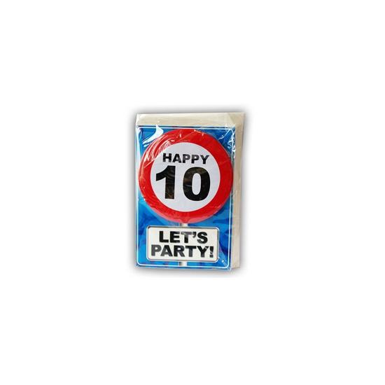 10 jaar ansichtkaart met button