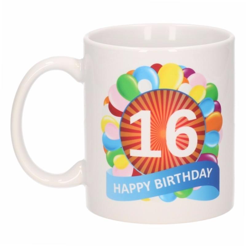 16 jaar verjaardag ballon thema theemok 300 ml