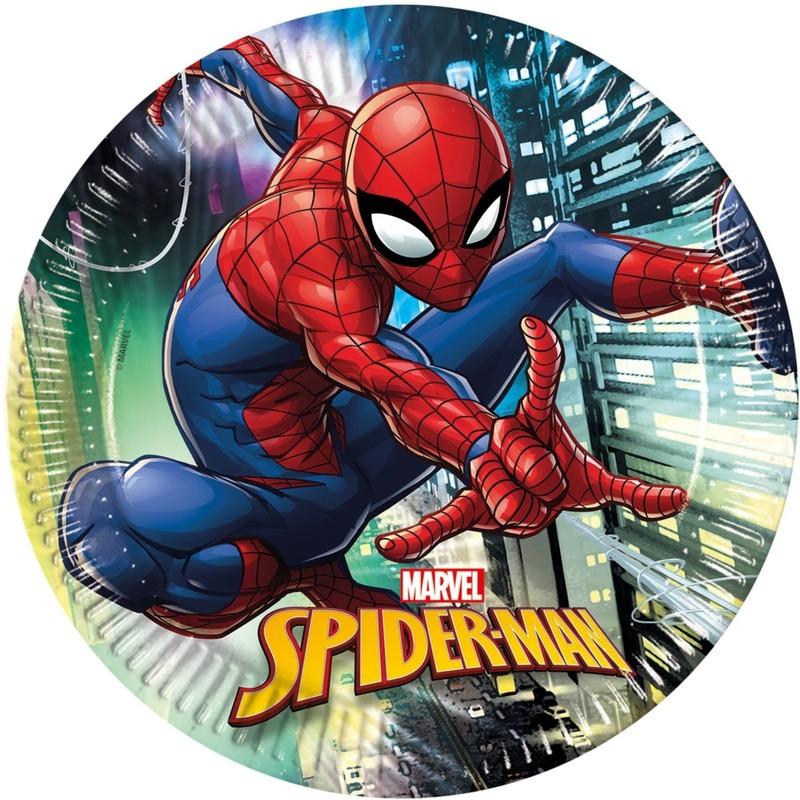 16x Marvel Spiderman themafeest bordjes 23 cm