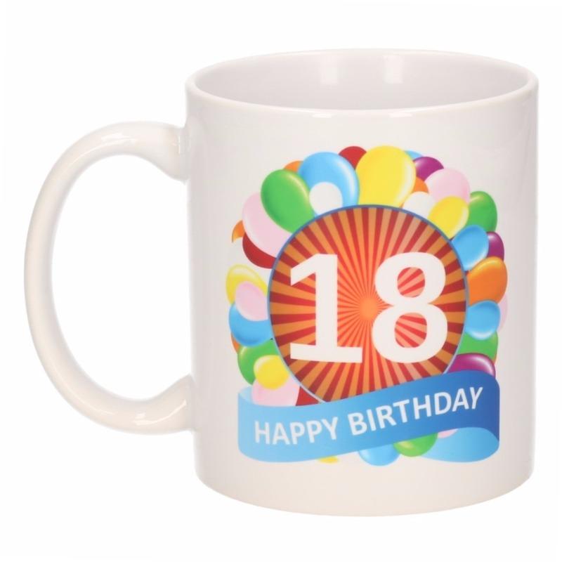 18 jaar verjaardag ballon thema theemok 300 ml