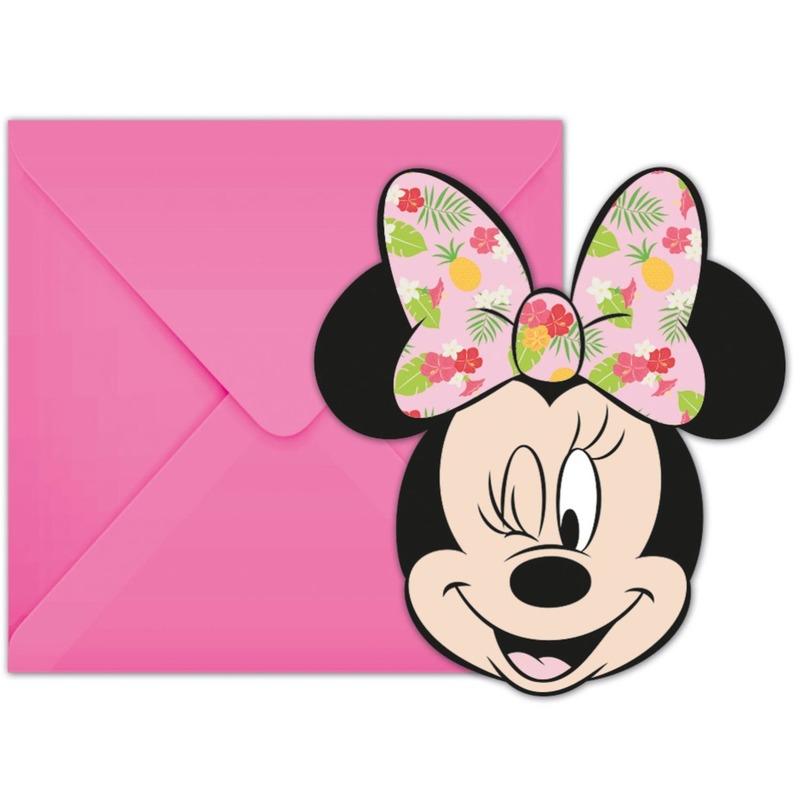 18x Disney Minnie Mouse tropical themafeest uitnodigingen 7 cm