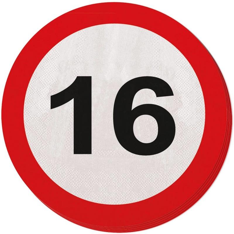 20x 16 jaar leeftijd themafeest servetten verkeersbord 33 cm ron