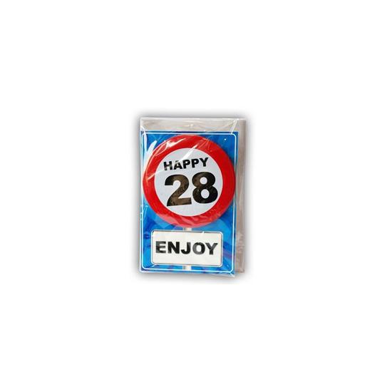 28 jaar ansichtkaart met button