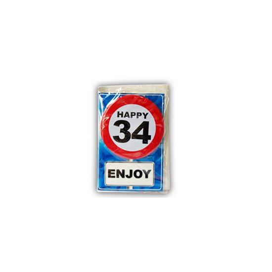 34 jaar ansichtkaart met button
