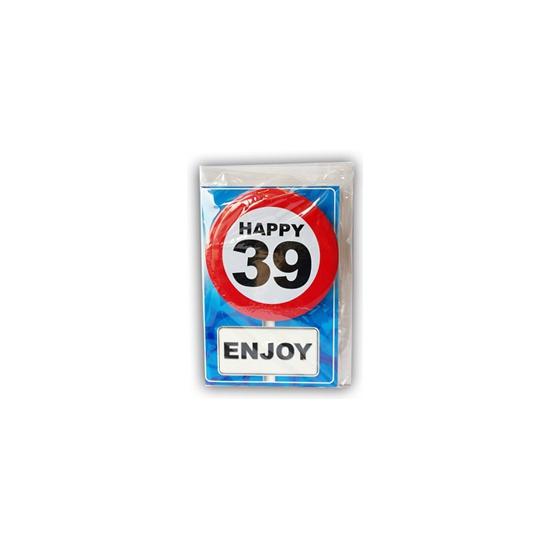 39 jaar ansichtkaart met button