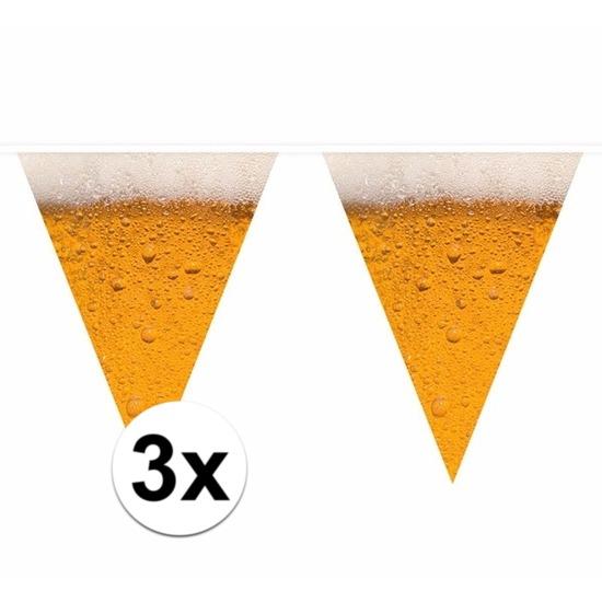 3x Bier thema print vlaggenlijnen 6,4 meter