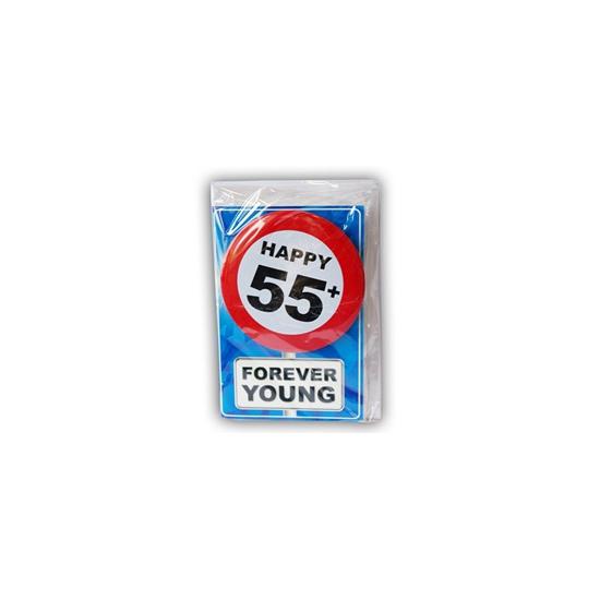 55 jaar ansichtkaart met button