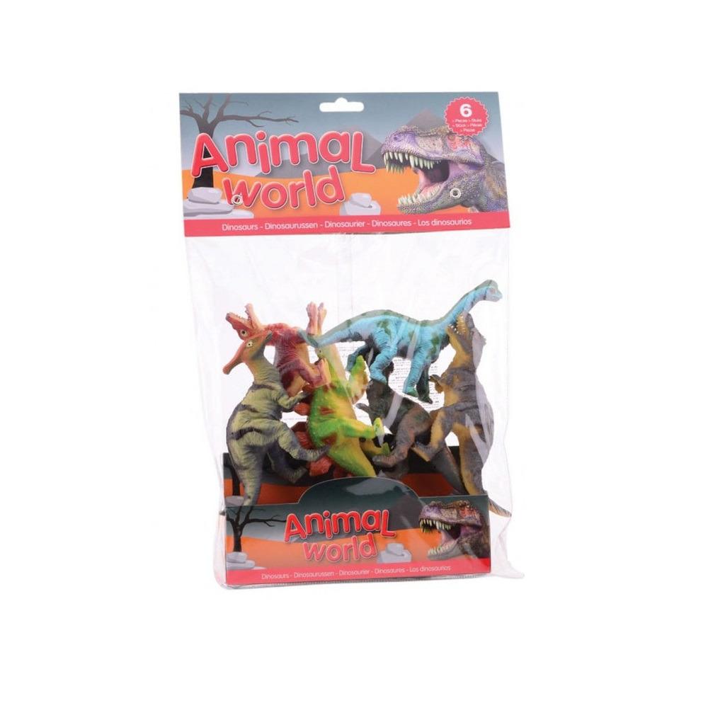 6x Plastic dinosaurussen speelgoed figuren 10-14 cm