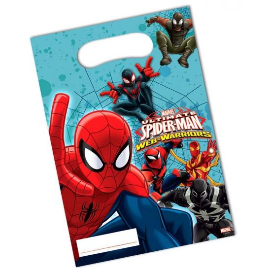 6x stuks Spiderman Warriors feest cadeau uitdeelzakjes