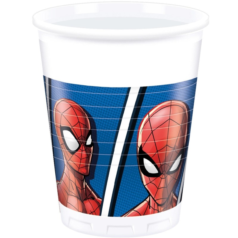 8x Marvel Spiderman themafeest bekers 200 ml