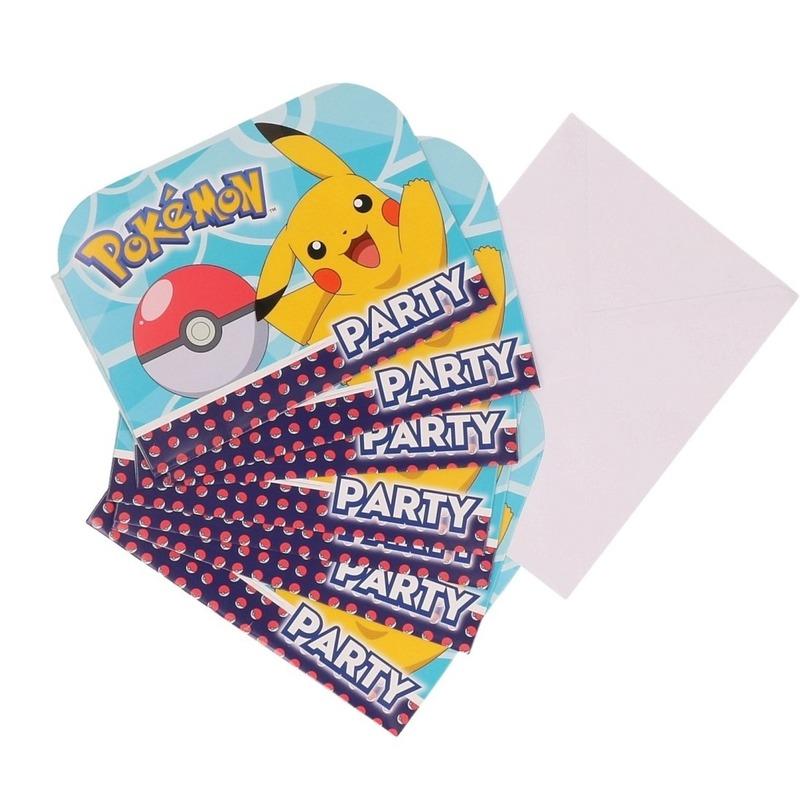 8x Pokemon themafeest uitnodingen/kaarten