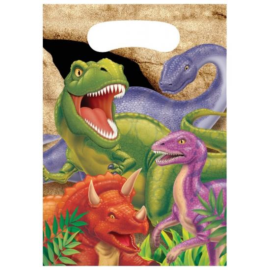 8x stuks Dinosaurus thema uitdeelzakjes/feestzakjes
