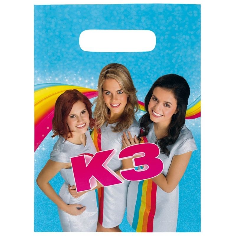 8x stuks K3 feest thema uitdeelzakjes/feestzakjes