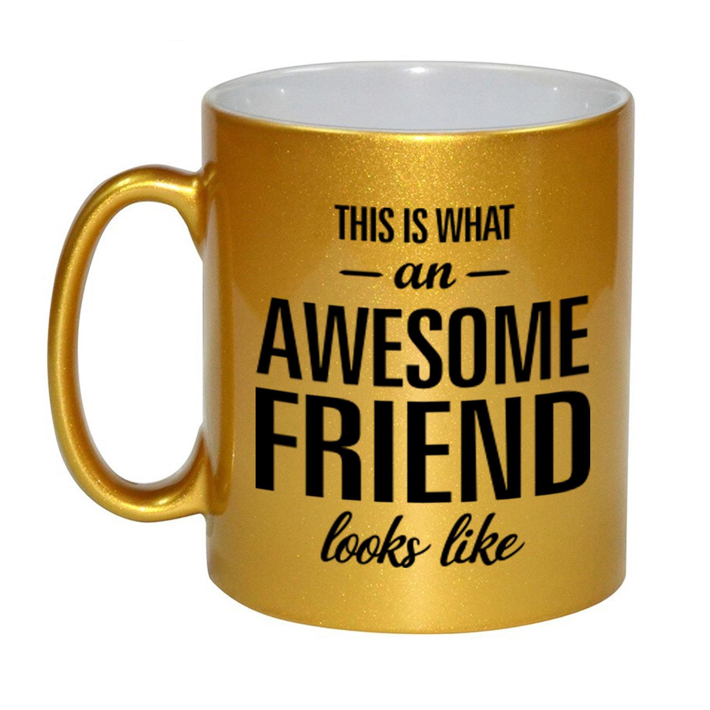 Awesome friend cadeau mok - beker goud voor vriend of vriendin 330 ml