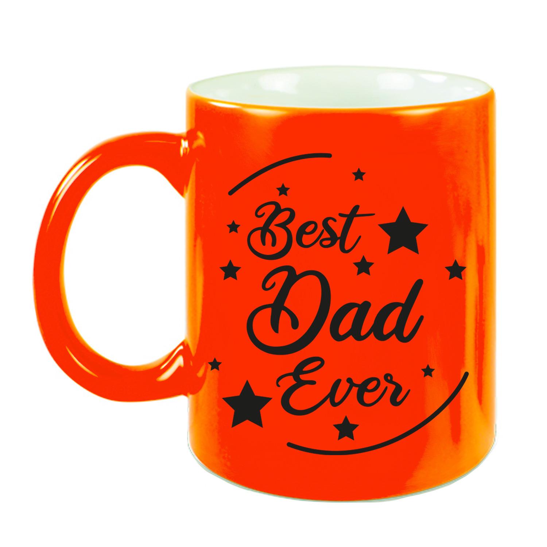 Best Dad Ever cadeau koffiemok - theebeker neon oranje 330 ml