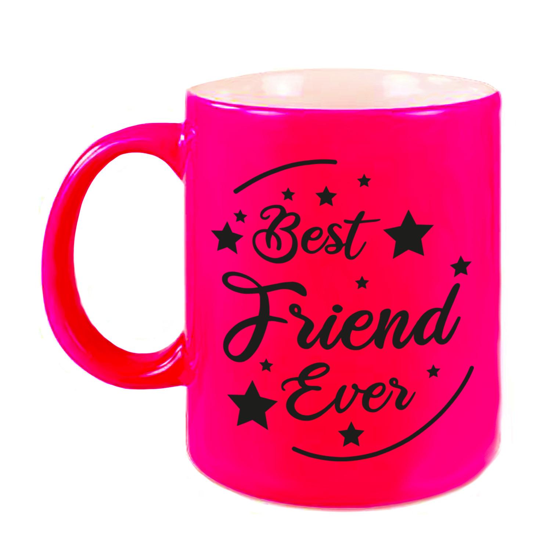 Best Friend Ever cadeau koffiemok - theebeker neon roze 330 ml